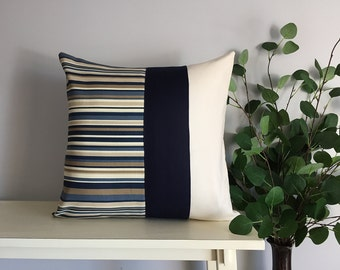Decorative Pillow Cover, Color Block Pillow, Pillow with Blue Stripe
