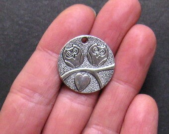 6 Owl Charms Antique  Silver Tone Sitting on a Branch - SC732