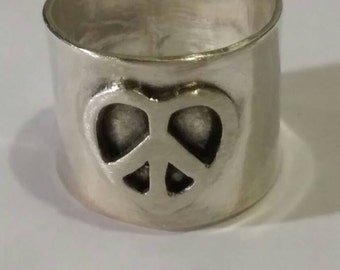 Sterling silver peace heart ring jewelry silver hammered gift