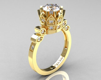 Classic Armenian 14K Yellow Gold 1.0 CZ Diamond Bridal Solitaire Ring R405-14KYGDRCZ
