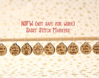 NSFW (not safe for work) Sassy Stitch Markers for Knitting