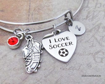 I love soccer Cleat Charm Personalized Hand Stamped Initial Birthstone Soccer Shoe Stainless Steel Expandable Bangle Bracelet