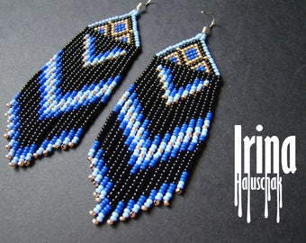 Native american style earrings, native style earrings, beaded earrings, seed bead earrings, modern earring, boho earrings, fringe earrings