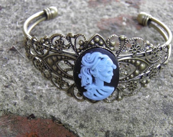 Day of the Dead Bracelet, Lolita Cameo Skull Jewelry Goth Steampunk Day of the Dead Jewelry Halloween Dia de los Muertos Style 2