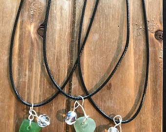 Sea glass necklace crystal bead dangle pendant chirded necklace Genuine Beach Glass jewelry