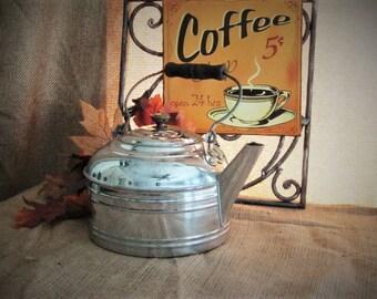 LARGE Teapot Vintage Revere Tea Kettle FARMHOUSE Style Large Nickel Over Copper REVERE Teapot Farmhouse Kitchen Decor