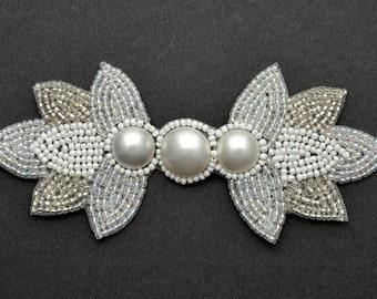 "Pearl Beaded Applique, Bridal Applique, 5-1/4""W x 2-1/4""H, FF-3662"