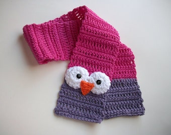 PATTERN Crochet Owl Toddler Scarf Size 2-3yrs