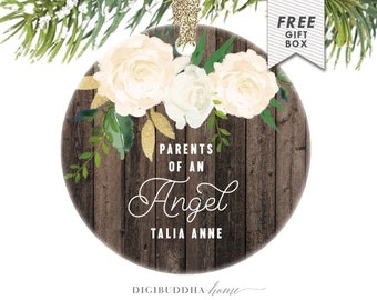 Infant Loss Keepsake, Bereavement Gift Christmas Ornament, Parents of An Angel Personalized Ornament with Child's Name, Infant Loss Gift