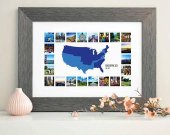 "USA ""Places I've Been"" Map & Collage"