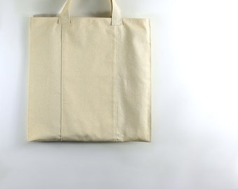 Simple Canvas Bag with Long Pocket on Both Sides, Strong Reuable Washable and Environmentally Friendly