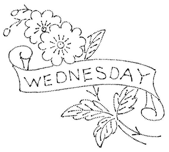 Vintage hand embroidery pattern flowers with days of the week for Embroidery office design version 9