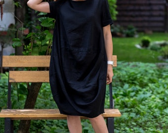 Linen Dress, Black Dress, Plus Size Linen Dress, Summer Dress, Womens Dress, Linen Clothing, Cocktail Dress, Midi Dress, Oversized Dress