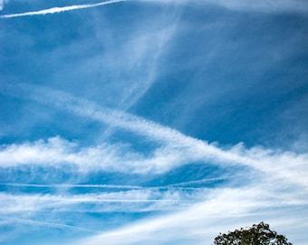 California country road clouds contrail blue grass ranch Tehachapi landscape photography fine art