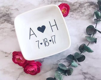 Initials Ring Dish | Ring Holder | Gift for Girlfriend | Gift for Wife | Personalized Gift | Valentines Day Gift | Jewelry Dish | Ring Dish