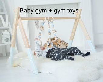 Baby wooden gym with toys / perfect nursery decor / activity center for baby