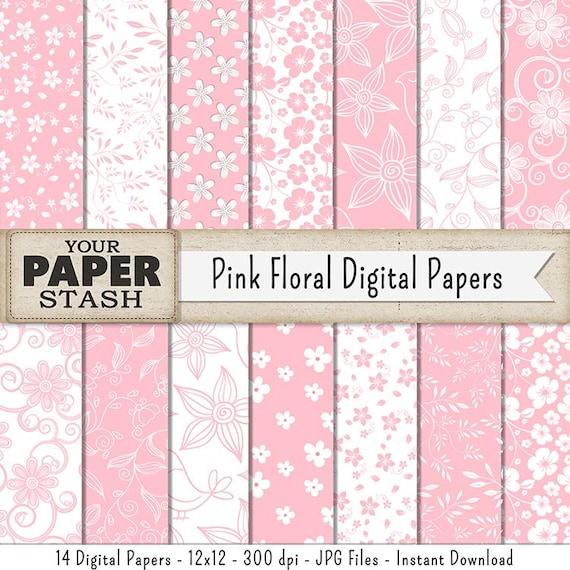 Pink Digital Paper Floral Scrapbook Paper Baby Girl Girl