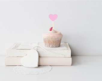 Pink Heart Cupcake Toppers