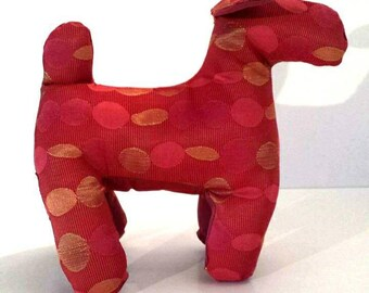 Toy Dog House Red Textile Art