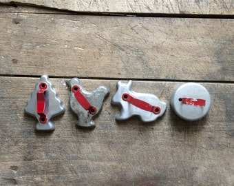 Vintage Red Handled Aluminum Cookie Cutters Set of Four