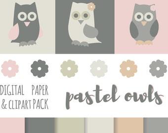 Pastel Owls - Digital Paper / Background & Clipart Pack