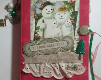 Christmas journal, Snowman journal, junk journal, Mixed media journal, December daily