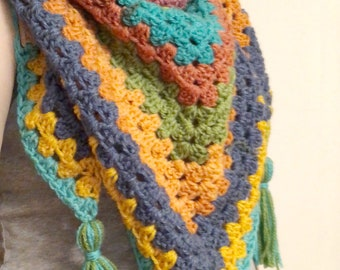 Granny Square Triangle crochet scarf, Spring shawl, Triangle shawl, Ready to Ship, Triangle Scarf, Mother's Day Gift, Under 40, New Moms
