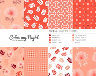 80% OFF SALE Digital Paper Red 'Pack05' Flowers, Leaves, Dots & Geometrical Scrapbook Backgrounds for Invitations, Scrapbooking, Crafts...