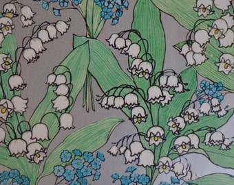 Vintage 1981 Wedding Gift Wrap --Lillies of the Valley on Silver--1 Sheet Wrapping Paper