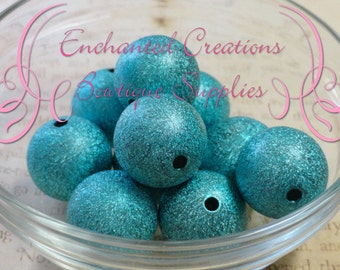 20mm Turquoise Stardust Acylic Beads Qty 10