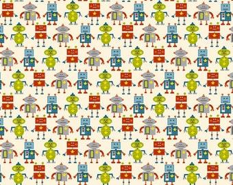 COTTON FABRIC Robots - 'Little Monsters' Makower UK 100% premium cotton
