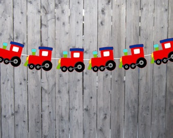 Train Banner, Train Garland, Train Birthday Banner, Train Party Banner