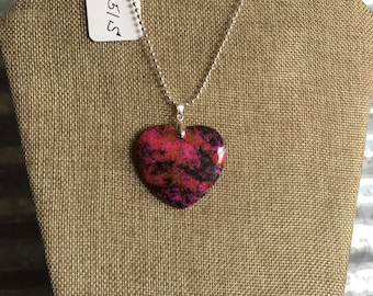 1051S  Heart Pendent Variegated Jasper Necklace