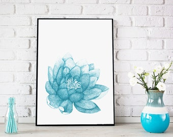 "Lotus flower/ Floral Wall decor/ Yoga art/ Floral painting/ Lotus Flower Painting/ Water lily/ flower wall art/ Lotus Print ""Power of Lotus"""
