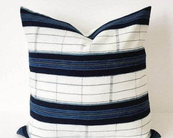 20 x 20 Indigo and White Stripe Pillow