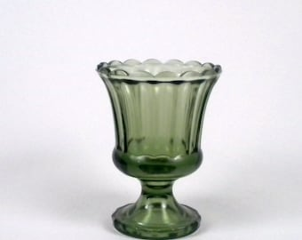 Vintage Green Glass Vase with Pedestal