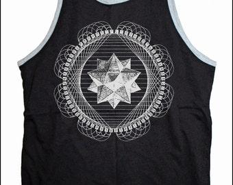 Men's Star TETRAHEDRON Screen Printed Tank Top Merkaba Sacred Geometry