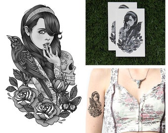 Tattify Girl With Crow Temporary Tattoo - Little Death (Set of 2)