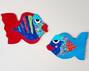 Funky Fish Wall Art Quilted Soft Sculpture Red Aqua Blue Polka Dot ONE More set Available INQUIRE