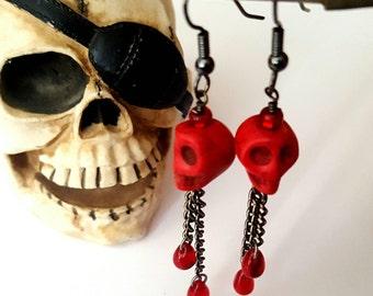 Red Skull & Czech Glass Bead Blood Drop Earrings