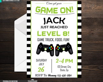 Video Gamer Birthday, Game Truck Party, Gamer Invite, Green Black Controller