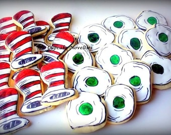 Dr Seuss Birthday Baby Shower Sugar Cookies Edible Favors Lorax Places You'll Go Cat in The Hat Thing 1 and 2 Green Eggs and Ham Cookies