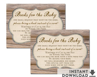 """Rustic Baby SHower Books for Baby Book Request Insert 3X4"""" // Bring a Book Request Card Brown Baby Shower // Printable No.709BROWN"""