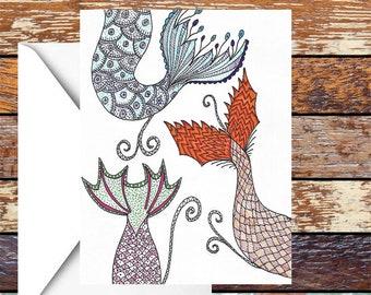 Mermaid Tail Birthday/celebration Card/Invitation