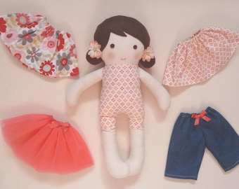 """Coral Print Fabric Stuffed Doll Changeable Skirts, Tutu, and Jeans 14.5"""" (37cm) Tall"""