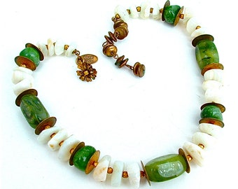 Signed Miriam Haskell Designer Vintage Stone Beaded Shell Necklace