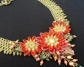 Tangerine Summer Bloom  beaded necklace in Orange, Yellow, Red and Green
