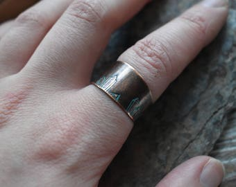 Crystal Cluster Ring- Antique Copper Gemstone Stamped Ring- Stamped Quartz Crystal Adjustable Ring Jewelry- Crystal Lover Ring