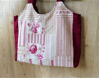 Large Burgundy tote bag and cloth shabby, old rose