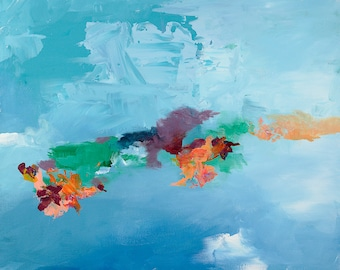 Modern Abstract Painting - Bright Blue